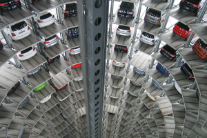 Cars stacked up in a multi storey car park