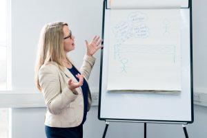 Andrea Goodridge facilitating a leadership course, Ad Florem