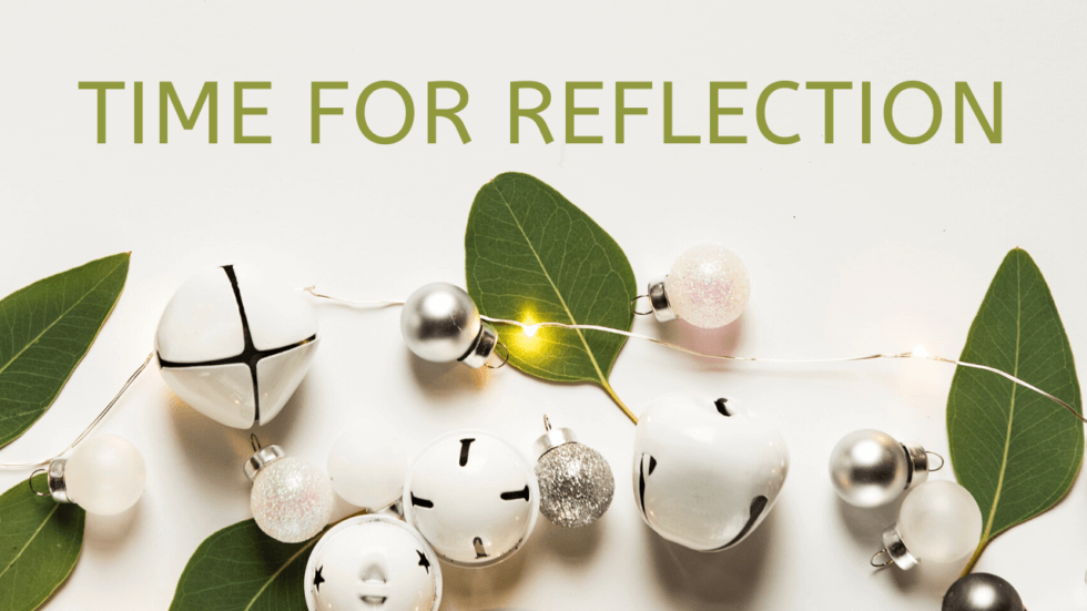 Time for reflection over Christmas decorations