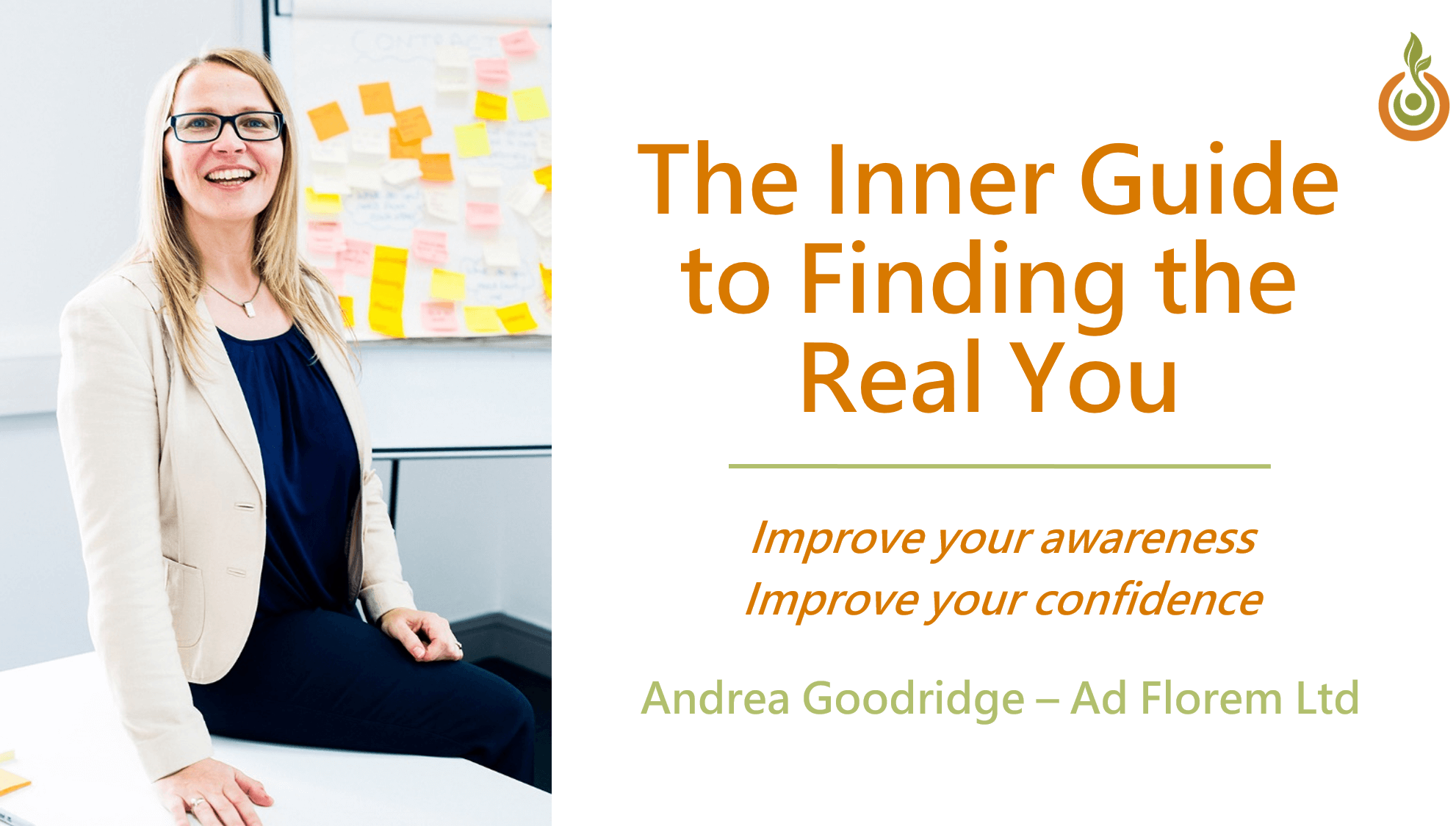 Andrea Goodridge introducing her Inner Guide to Finding the Real You
