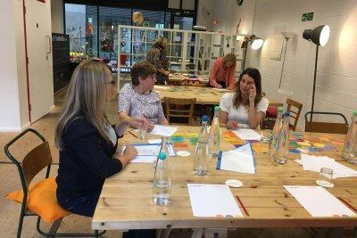 Andrea Goodridge facilitating a leadership retreat, Ad Florem