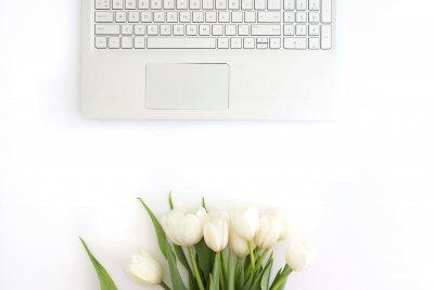 Laptop open for an online course with Andrea Goodridge, Ad Florem